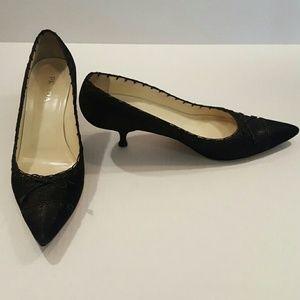 Prada Women's leather Lace Pump shoes 10, 40 Euro